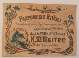 """Carte Publicitaire Parfum : """" Parfumerie Rivoli """" 1900-1920 - Publicités"""