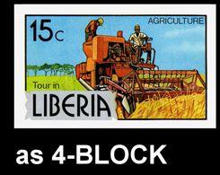 LIBERIA 1976 Agriculture 15c IMPERF.4-BLOCK Harvesting Machine Mechanics [non Dentelé, Geschnitten,no Dentado] - Liberia