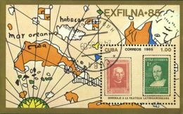 Cuba 1985 Map, Geography, EXFILNA Stamp Exhibition Used Cancelled M/Sheet (U-28) - Cuba