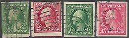 US 1911-2  Sc#387-8, 408-9  Sets Used   2016 Scott Value $7.45 - Etats-Unis