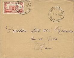 1934- Enveloppe Affr. 50 C  De TERRES SAINVILLE ( Martinique ) Cad Rotoplan Pour La France - Martinica (1886-1947)