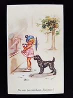 CPA Illustrée Germaine Bouret, Enfant Chien, - Bouret, Germaine