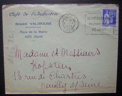 1938 Alès (Gard) Café De L'industrie Roger Valibouse Place De La Mairie Oblitération Nîmes - 1921-1960: Période Moderne
