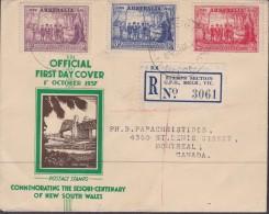 AUSTRALIA 1937 NSW Anniv Sc 163-65 First Day Cover - 1937-52 George VI