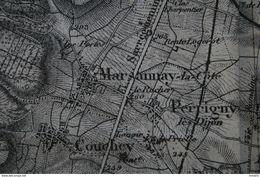 """Carte Topographique """" Environs De DIJON"""" - Révisée 1897 - éch. 1/80 000ème ( Dijon, Faverney, Lux, Chaigney Gemeaux,etc - Topographical Maps"""
