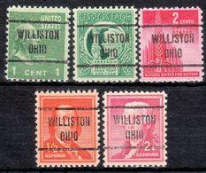 USA Precancel Vorausentwertung Preo, Locals Ohio, Williston 721, 5 Diff. - Préoblitérés