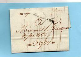 """Linéaire """"33 MONTPELLIER"""" 40X9mm,+ Manuscrite """"Momp.""""L.A.C. Du 3/3/92. - Marcophilie (Lettres)"""