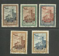 SAN MARINO 1942 RICONSEGNA AD ARBE DELLA BANDIERA ITALIANA POSTA AEREA AIR MAIL SERIE COMPLETA COMPLETE SET USATA USED - San Marino