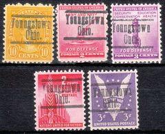 USA Precancel Vorausentwertung Preo, Locals Ohio, Youngstown 553, 5 Diff. Perf. 11x10 1/2 - Vereinigte Staaten