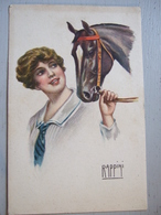 RAPPINI / JEUNE FEMME TENANT LA BRIDE DE SON CHEVAL  / BELLE CARTE 1918 - Autres Illustrateurs
