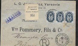 Russie VARSOVIE 3 Timbres 10 Kon Sur Env. Recommandée 1899 Pour REIMS - 1857-1916 Impero