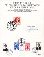 """FRANCE Encart Commémoratif N°té """" EXPOSITION DES TIMBRES DE LA RESISTANCE ET DE LA LIBERATION / DE GAULLE """" Voir Le Scan - De Gaulle (General)"""
