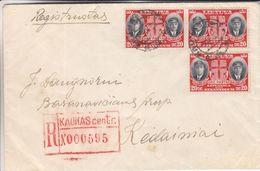 Lituanie - Lettre Recom De 1939 - Oblit Kaunas - Exp Vers Kedainiai - Aviateurs - Lithuania