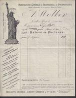 Facture  De La Manuf. Générale De Caoutchouc & De Pneumatiques A. WOLBER -  Levallois Perret (92) - Statue De La Liberté - Automobile