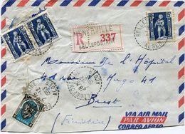 ALGERIE LETTRE RECOMMANDEE PAR AVION DEPART BELLEFONTAINE 7-12-1953 ALGER POUR LA FRANCE - Algeria (1924-1962)