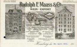 Allemagne. Hamburg/Hambourg. - Entête Du 10 April 1914 - Rudolph F.Maas & Co. - Wein - Export - Voir (3 Scans). - 1900 – 1949