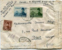 EGYPTE LETTRE PAR AVION CENSUREE DEPART (PORT  TEWFIK ) 6 DEC 48 POUR LA FRANCE - Covers & Documents