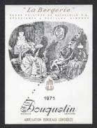 Etiquette De Vin  Bordeaux  1971 -  La Bergerie - Bouquetin  -  Baron P.de Rothschild (33) - Thème Couple Animaux - Bordeaux