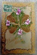 Carte Celluloïd - Bonne ANNÉE- Peintes à La Main Trèfle Iris - Nouvel An