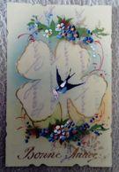 Carte Celluloïd - Bonne ANNÉE- Peintes à La Main Trèfle Hirondelle - Nouvel An