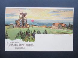 AK Litho Um 1900 Gruss Vom Grossen Inselsberg In Thüringen. Preussischer Gasthof. Sonnenaufgang - Gruss Aus.../ Grüsse Aus...