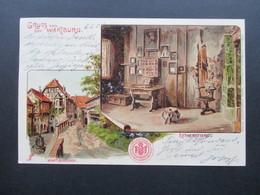 AK Litho Um 1904 Gruss Von Der Wartburg. Wartburghof Und Lutherstube. Verlag Hoflieferant Franz Wieprecht - Gruss Aus.../ Grüsse Aus...