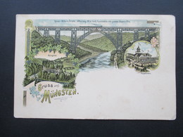 AK Litho Um 1900 Gruss Aus Müngsten. Kaiser Wilhelm Brücke. Küpppelstein - Gruss Aus.../ Grüsse Aus...