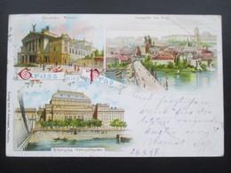 AK Litho 1897 Mehrbildkarte Gruss Aus Prag. Nach Haag Gesendet Und Dann Weitergeleitet Nach Pilsen! - Gruss Aus.../ Grüsse Aus...