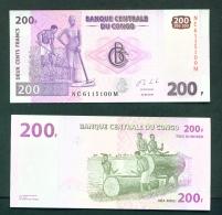 CONGO DR (KINSHASA)  -  2013  200f  Native Drums  UNC Banknote - Congo