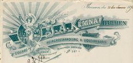 Allemagne. Barmen. - Entête Du 31 Januar 1896 - J.A.Kemna Barmen - Cognac Weingrosshandlung & Liqueurfabrik. - Germany