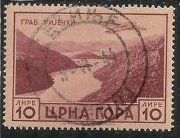 MONTENEGRO 1943 SERTO DELLA MONTAGNA POSTA AEREA AIR MAIL LIRE 10 USATO USED OBLITERE' - Occupation 2ème Guerre Mond. (Italie)