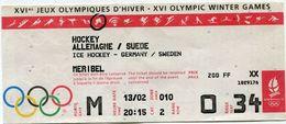 FRANCE THEME J. O. BILLET D'ENTREE DU 13/02 AU MATCH DE HOCKEY ALLEMAGNE / SUEDE MERIBEL - Winter 1992: Albertville