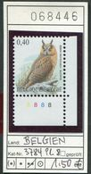 Buzin - Belgien - Belgique -  Belgium - Belgie - Michel 3784 Platte 8 - ** Mnh Neuf Postfris - Waldohreule - 1985-.. Oiseaux (Buzin)