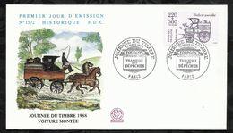 JOURNEE DU TIMBRE . VOITURE MONTEE . 12 MARS 1988 . PARIS . - FDC