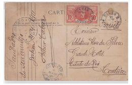 SENEGAL -- CARTE POSTALE 1911-- DAKAR VERS CORDEIRO (BRESIL) TRANSIT RIO -- DESTINATION RARE-- - Senegal (1887-1944)