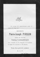 Faire-part Décès. Pierre-Joseph PIRSON époux Thérèse Vanschingen. Corbion. 1907 - Overlijden