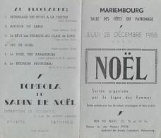 Programme Noël 1958. Mariembourg. - Programmes
