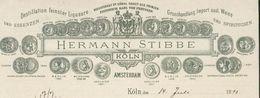 Amsterdam/Köln : Entête  Du 14 Juillet 1893 - Destillation Feinster Liqueure - Hermann Stibbe . - Pays-Bas
