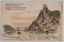 Gruss Von Der Loreley - Auf Hohem Felsenrücken Da Sitzt Due Loreley - Lithographie - Loreley