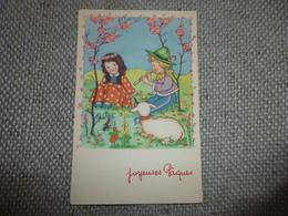 BELLE ILLUSTRATION ...JEUNES ENFANTS ..FLUTE.....JOYEUSES PAQUES - Easter