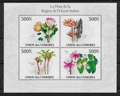 2009 Union Des Comores N°  Nf** MNH  1 Bloc  Feuillet . Flore De La Région De L'Océan Indien. Impatiens... - Dolfijnen