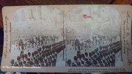 EDOUARD VII COURONNEMENT 1902 - DUC DUCHESSE DE SPARTE PRINCE DU DANEMARK HENRI DE PRUSSE - PHOTO STEREO LONDRES - Célébrités