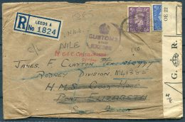 1944 GB Leeds Registered 'Customs And Excise' Seal Cover - HMS GOOD HOPE, Port Elizabeth, South Africa. Rodney Division - 1902-1951 (Kings)