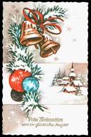 B2130 - Glückwunschkarte - Weihnachten - Glocken Baumkugel Winterlandschaft - Weihnachten