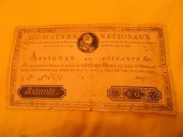 FRANCE - ASSIGNAT. 60 LIVRES Mus 8. Du 19-6-1791 - Assignats