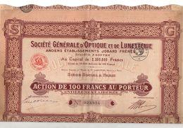 Action De 100 Francs Au Porteur Entièrement Libérée N°023924 Société Générale D'Optique Et De Lunetterie - Aandelen