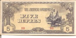 THE JAPANESE GOVERNMENT  FIVE RUPEES (  1942 - 1944 ) - Japan