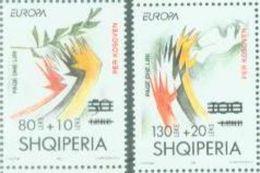 AL 2001-2784-5 EUROPA CEPT OVERPRIN FOR KOSOVO, ALBANIA 1 X 2v, MNH - Europa-CEPT