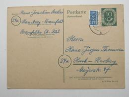 1952 , 10 Pfg. Posthornganzsache , Antwortkarte Gebraucht - BRD
