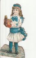 Découpi Petite Fille Vêtue De Blanc Et Bleu Lisant Un Livre - Ragazzi